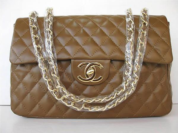 Chanel 1114 Coffee lambskin leather handbag with gold hardware