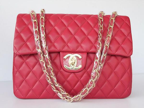 Chanel 1114 Peach red lambskin leather handbag with gold hardware
