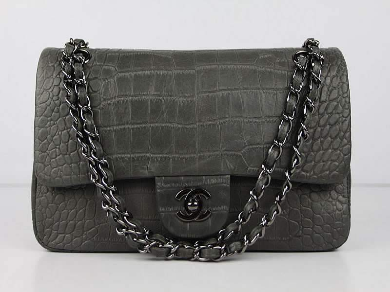 Chanel 01112 Classic 2.55 Croco Leather Flap Bag-Green