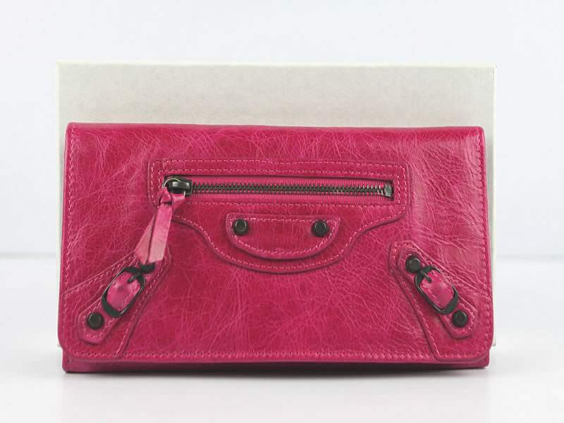 Balenciaga B001 Money Long Wallet-Rose Red