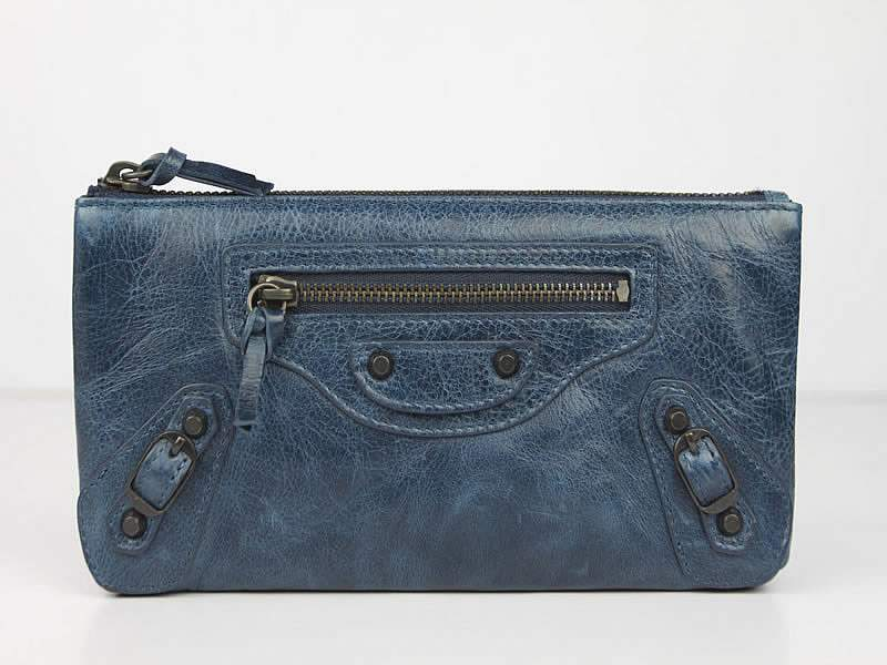 Balenciaga BG203 Import Leather Long Wallet-Blue