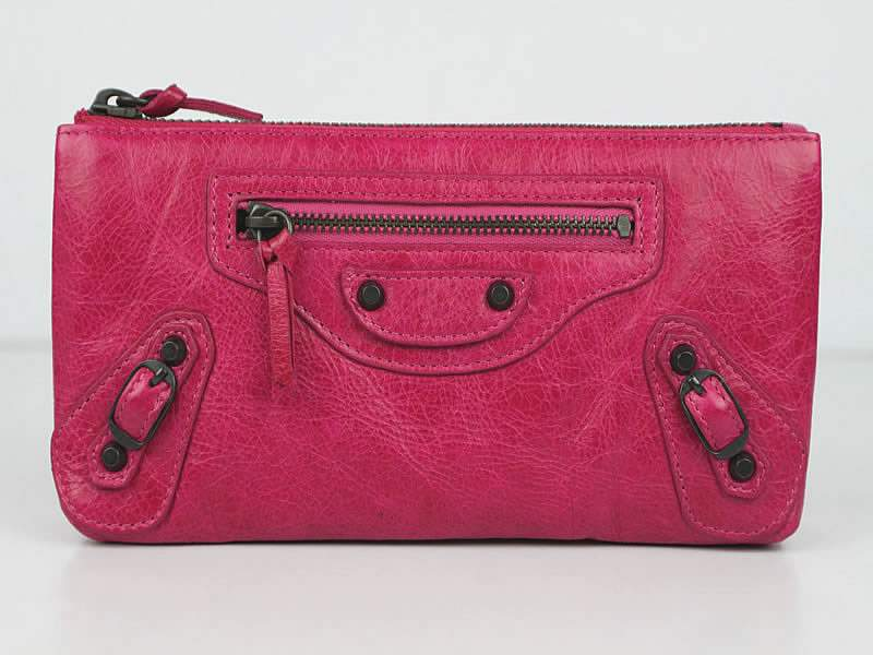 Balenciaga BG203 Import Leather Long Wallet-Rose Red