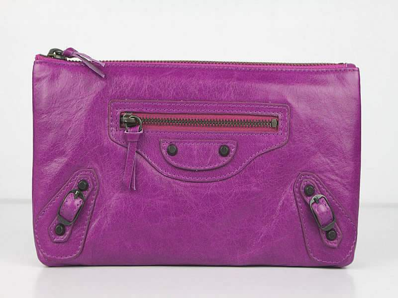 Balenciaga BG205 Import Leather Long Wallet-Purple