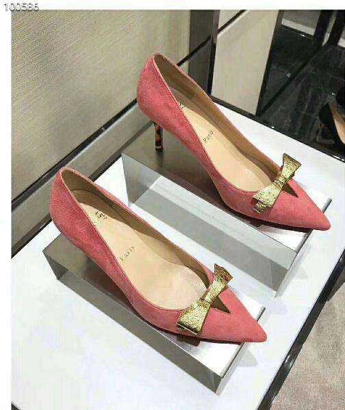 2019 NEW Christian Louboutin Real leather shoes CL100586 pink
