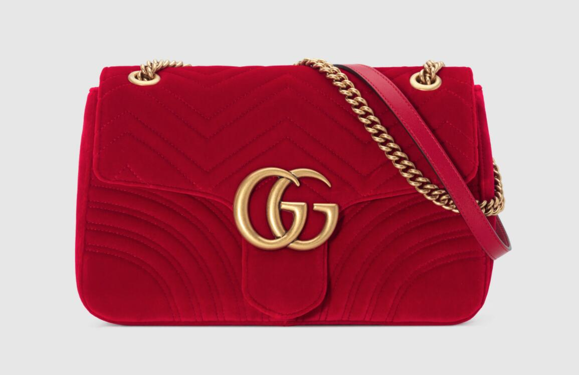 Gucci GG Marmont medium shoulder bag hibiscus red velvet 443496