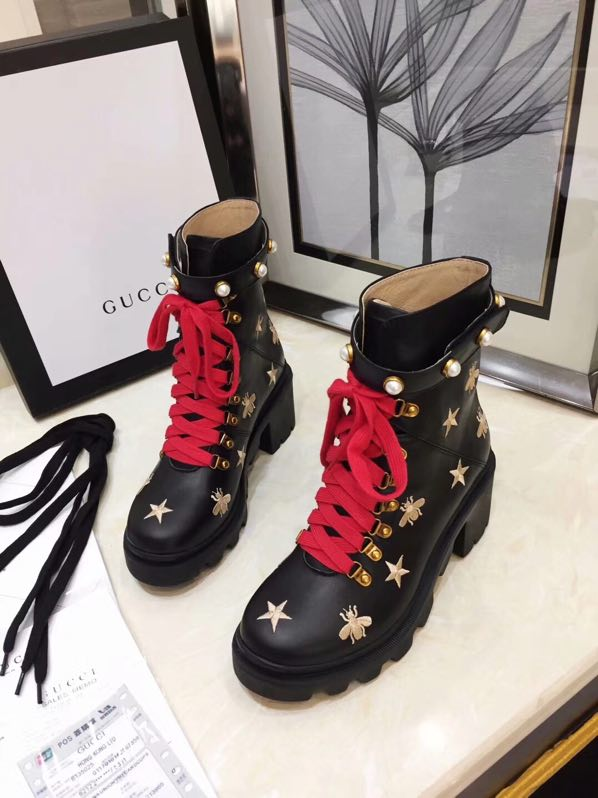 Gucci Leather embroidered ankle boot 498695 AYO10 1000