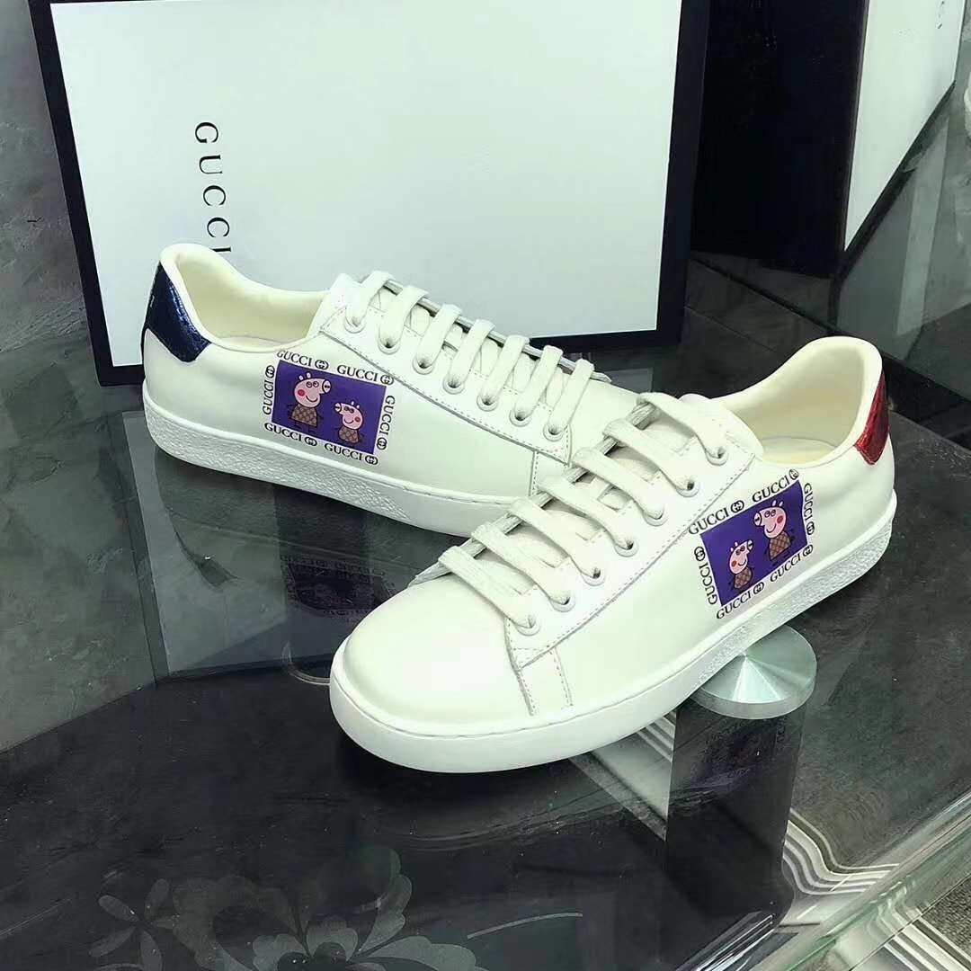 2019 NEW Gucci Real leather shoes Gucci202white