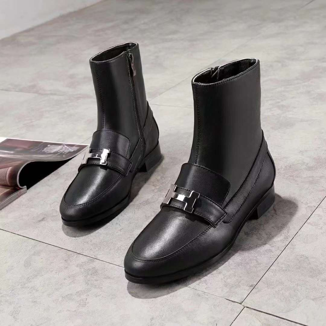 2019 NEW Hermes Real leather shoes Hermes102602black