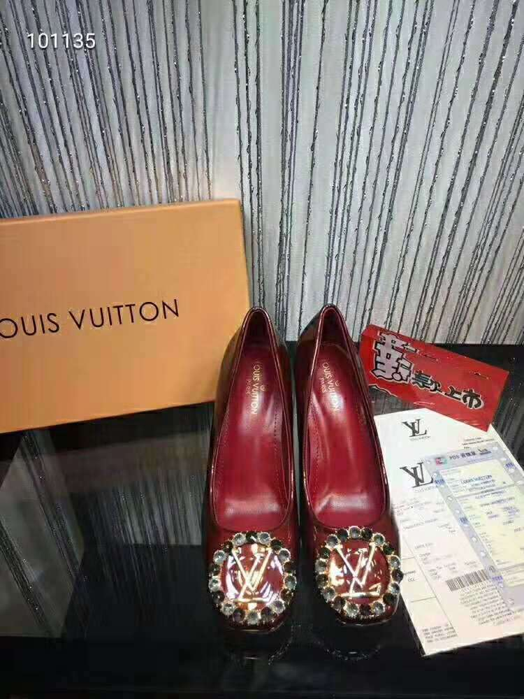 2019 NEW Louis Vuitton Real leather shoes LV101135 dark red
