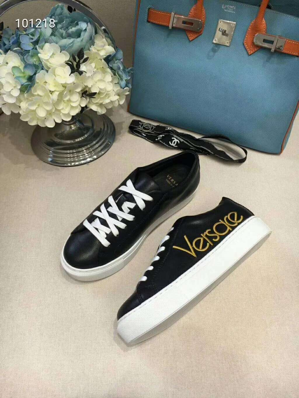 2019 NEW Versace Real leather shoes VERSACE101218black