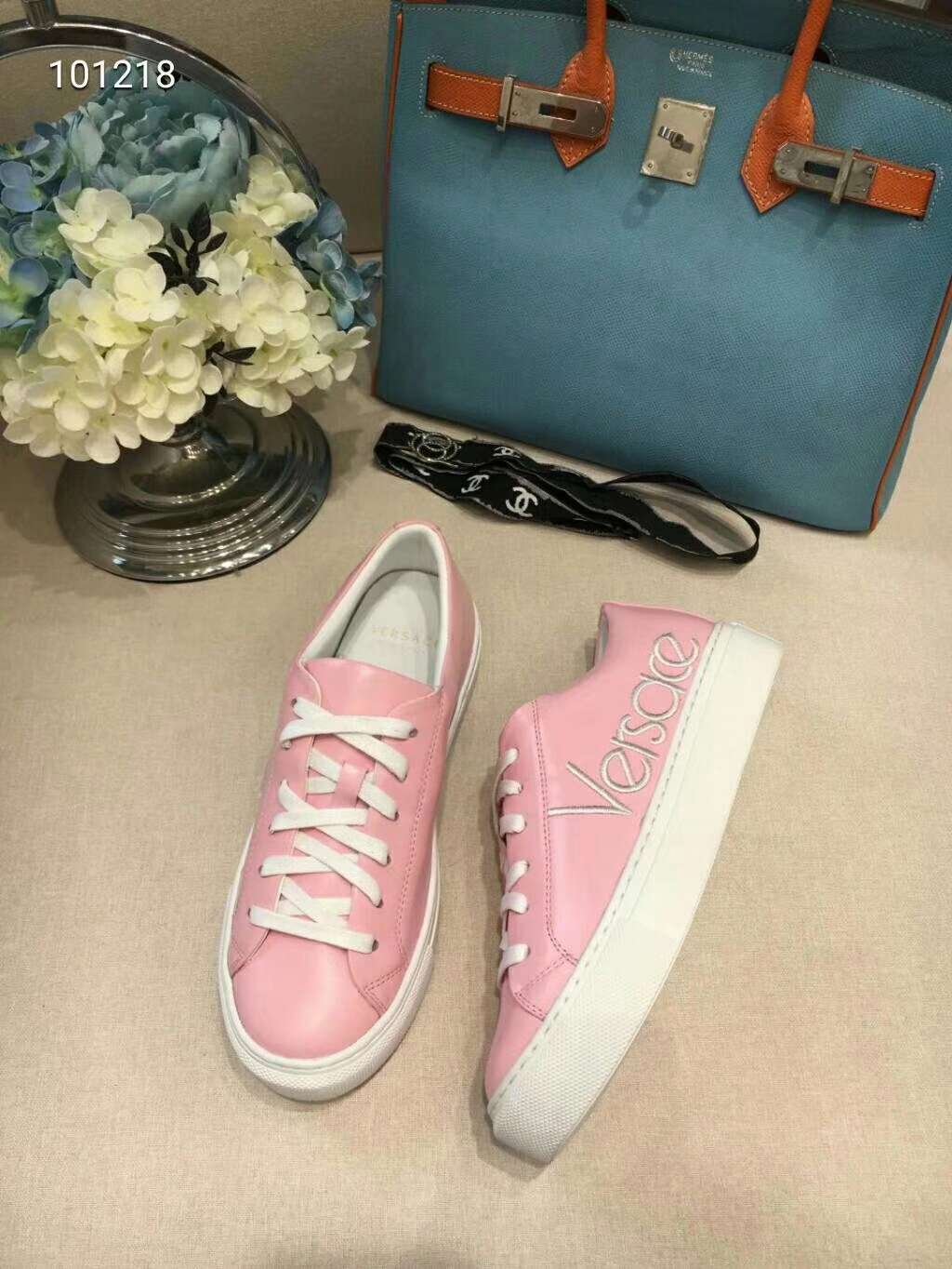 2019 NEW Versace Real leather shoes VERSACE101218pink