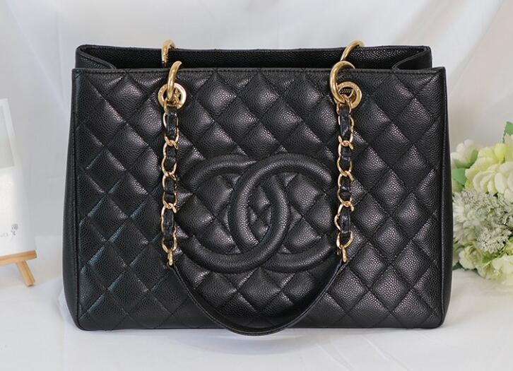 original quality Chanel 35899 Black caviar leather with Gold hardware