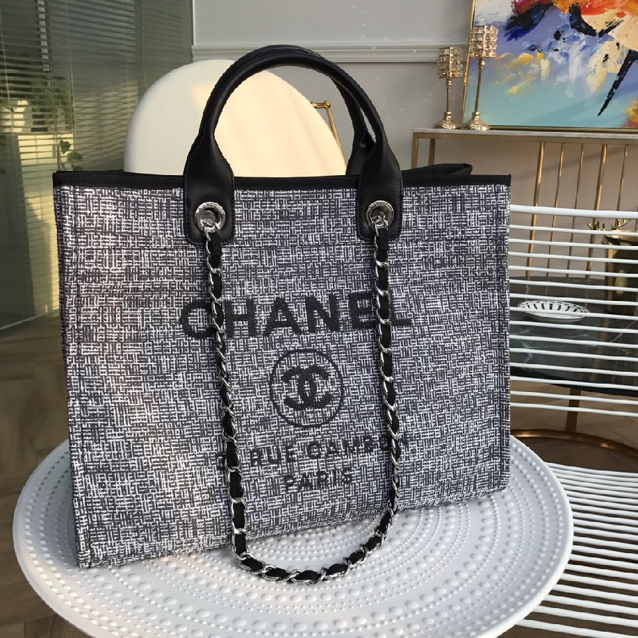 best quality original Chanel canvas tote shopping bags 30492 Black