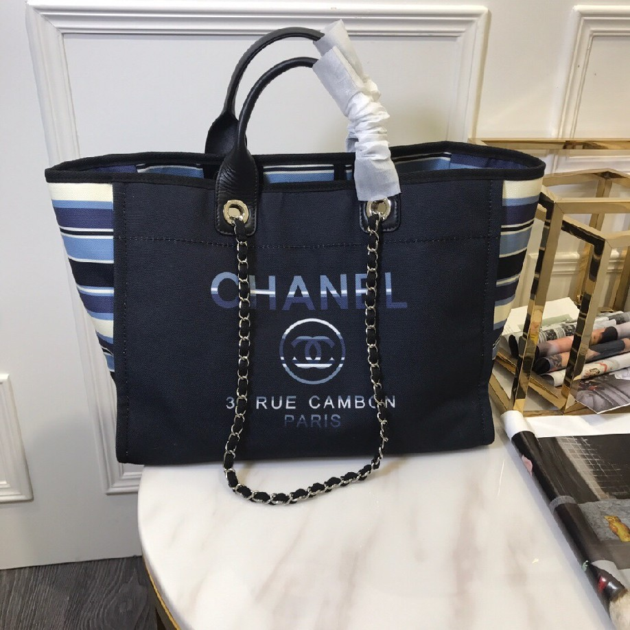 best quality original Chanel canvas tote shopping bags 30492 ALL BLACK