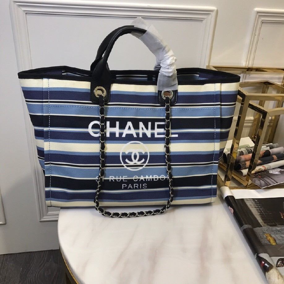 best quality original Chanel canvas tote shopping bags 30492 BLACK & blue