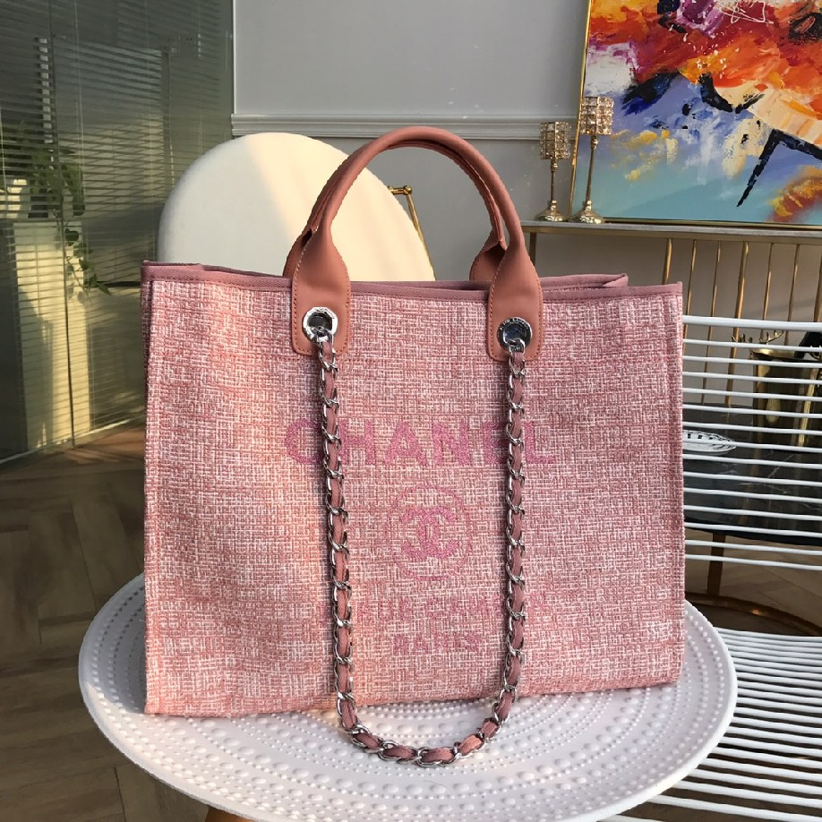 best quality original Chanel canvas tote shopping bags 30492 pink