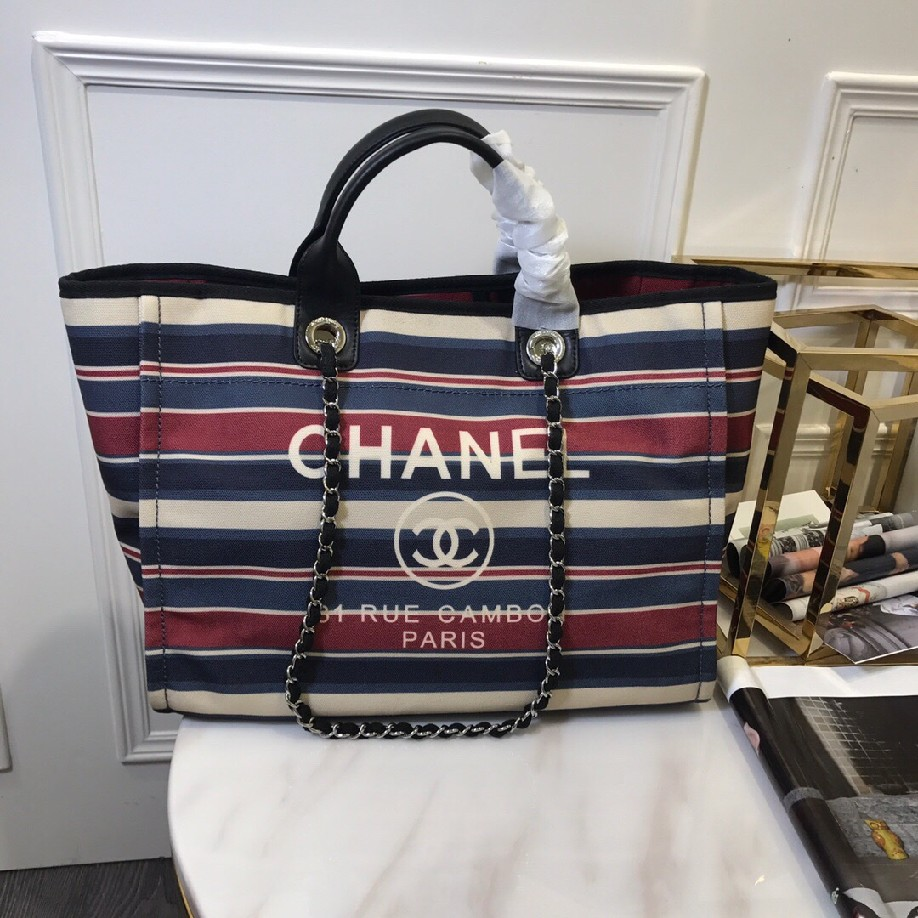 best quality original Chanel canvas tote shopping bags 30492 red & white