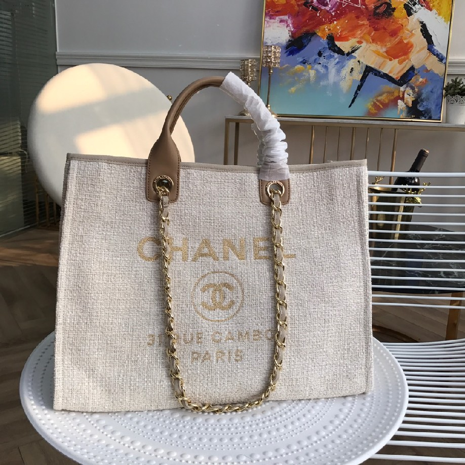 best quality original Chanel canvas tote shopping bags 30492 apricot
