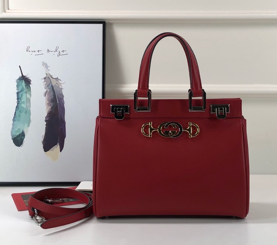 Gucci Zumi grainy leather small top handle bag 569712 red