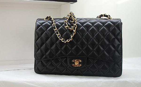 Chanel 36070 Designer Handbag Black Original Lambskin Leather With Gold Hardware