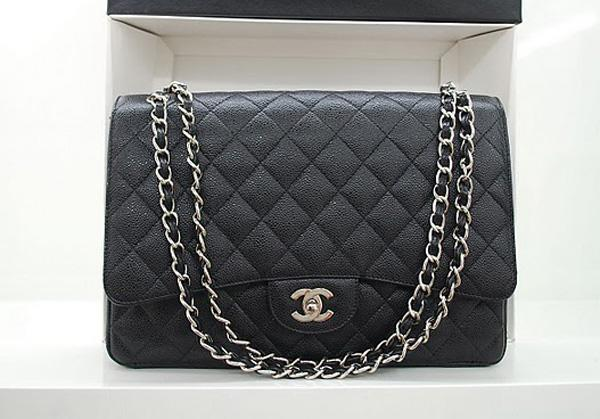 Chanel 36070 Designer Handbag Black Original Caviar Leather With Silver Hardware