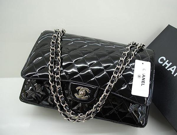 Chanel 36070 Designer Handbag Black Original Patent Leather With Silver Hardware
