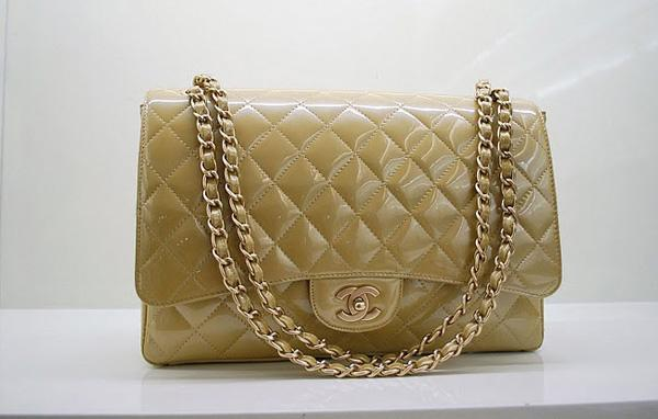 Chanel 36070 Designer Handbag Gold Original Patent Leather With Gold Hardware