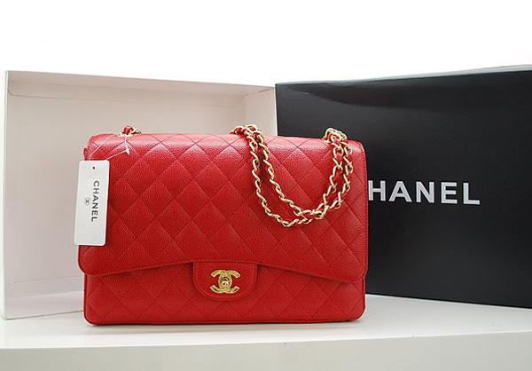 Chanel 36070 Designer Handbag Red Original Caviar Leather With Gold Hardware