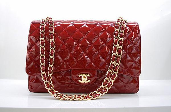 Chanel 36070 Designer Handbag Red Original Patent Leather With Gold Hardware
