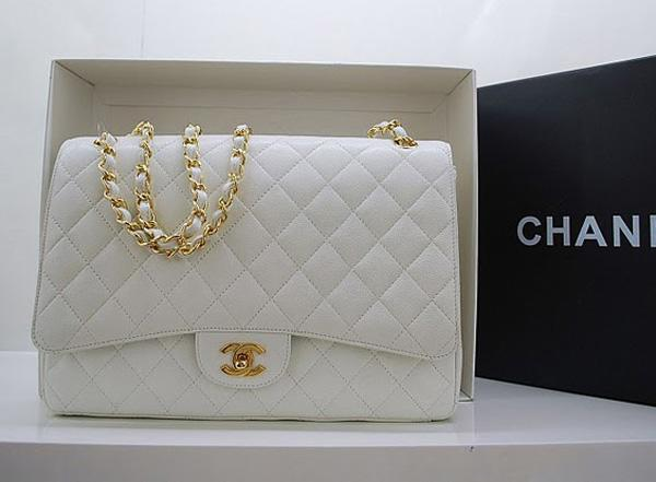 Chanel 36070 Designer Handware White Original Caviar Leather With Gold Hardware