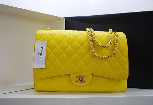 Chanel 36070 Designer Handbag Yellow Original Caviar Leather With Gold Hardware