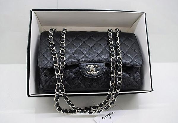 Chanel 36076 Replica Handbag Black Original Caviar Leather With Silver Hardware