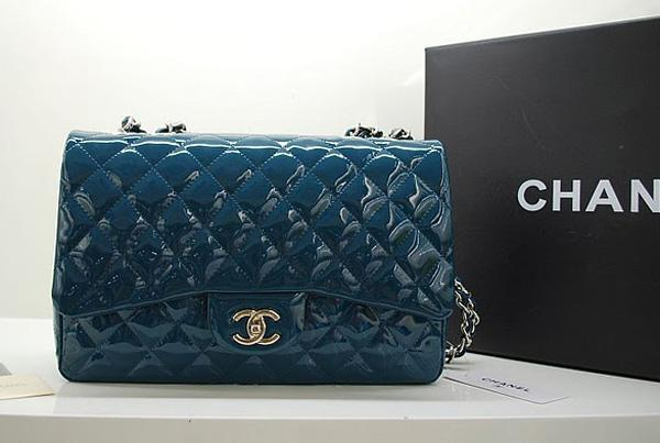 Chanel 36076 Replica Handbag Green Original Patent Leather with silver hardwarer