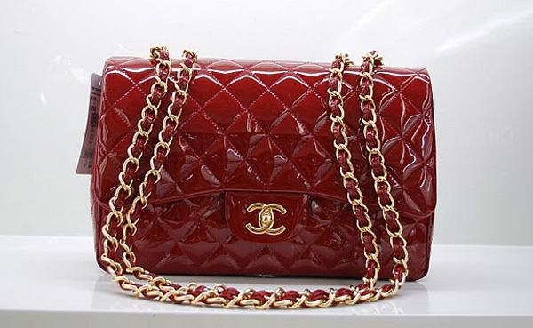 Chanel 36076 Replica Handbag Red Original Patent Leather With Gold Hardware