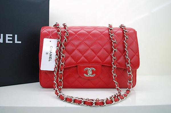 Chanel 36076 Replica Handbag Red Original Caviar Leather With Silver Hardware