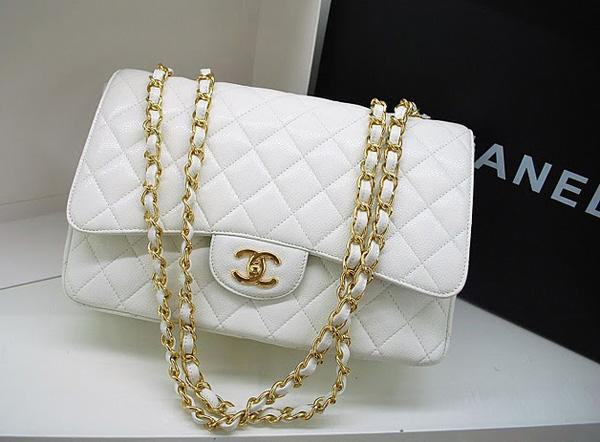 Chanel 36076 Replica Handbag White Original Caviar Leather With Gold Hardware