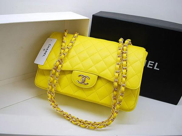 Chanel 36076 Replica Handbag Yellow Original Caviar Leather With Gold Hardware