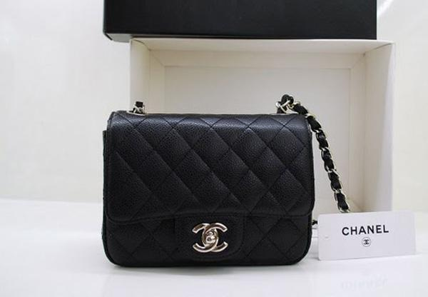 Chanel 36077 Black Original Caviar Leather handbag with Silver hardware