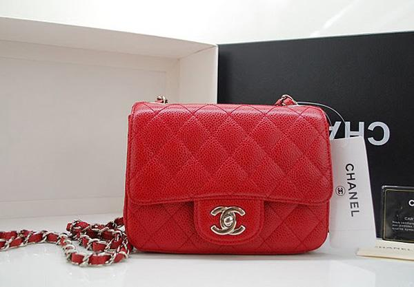 Chanel 36077 Red Original Caviar Leather replica handbag with Silver hardware