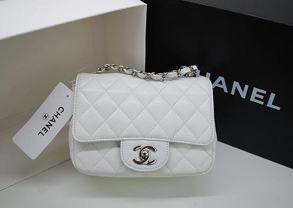 Chanel 36077 White Original Caviar Leather replica handbag with Silver hardware