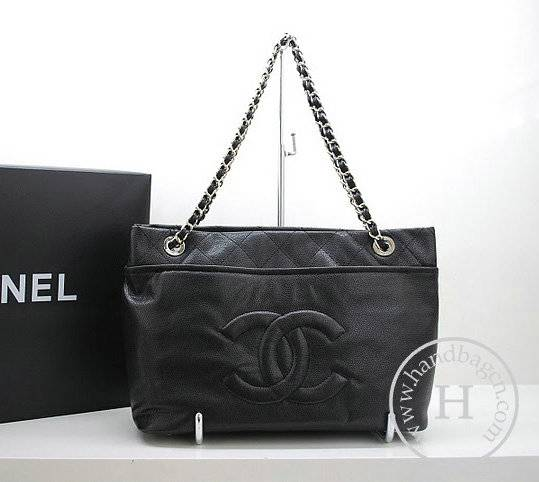 Chanel 36082 Designer Handbag Black Caviar Leather With Silver Hardware