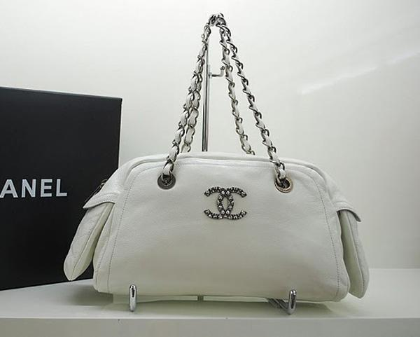 Chanel 36083 Designer Handbag White Original Caviar Leather With Silver Hardware