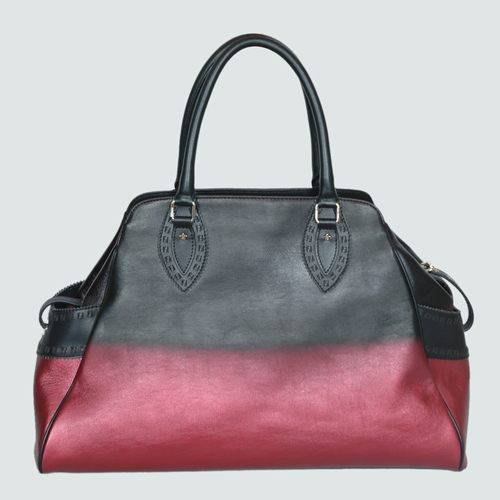 Fendi 5369 Black with Red Calfskin Leather Tote Bag With Gold Hardware