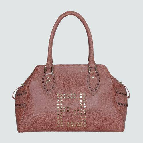 Fendi 5370 Pink Calfskin Leather Tote Bag With Gold Hardware