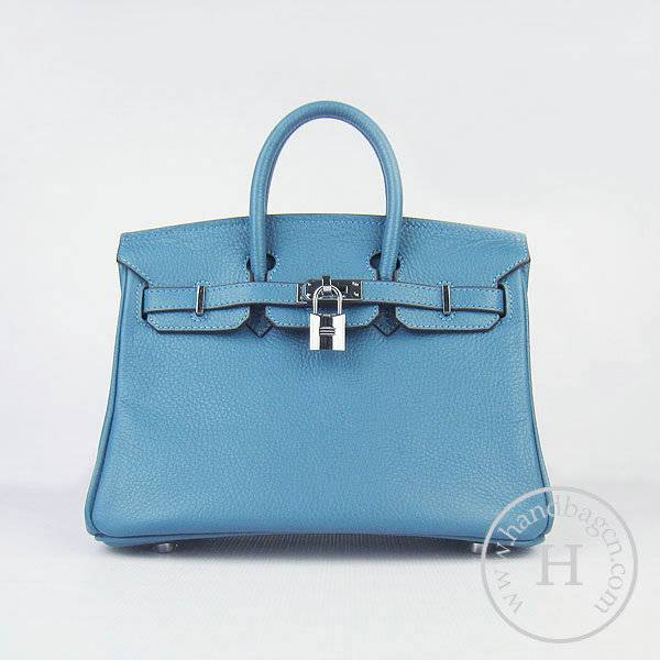 Hermes birkin 25cm 6068 Knockoff handbag middle blue Cow leather with Silver Hardware