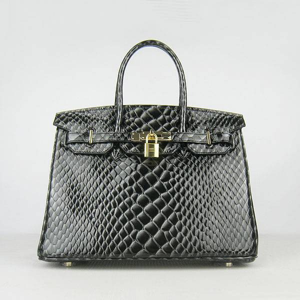 Hermes Birkin 30cm 6088 Black Fish Leather With Gold Hardware