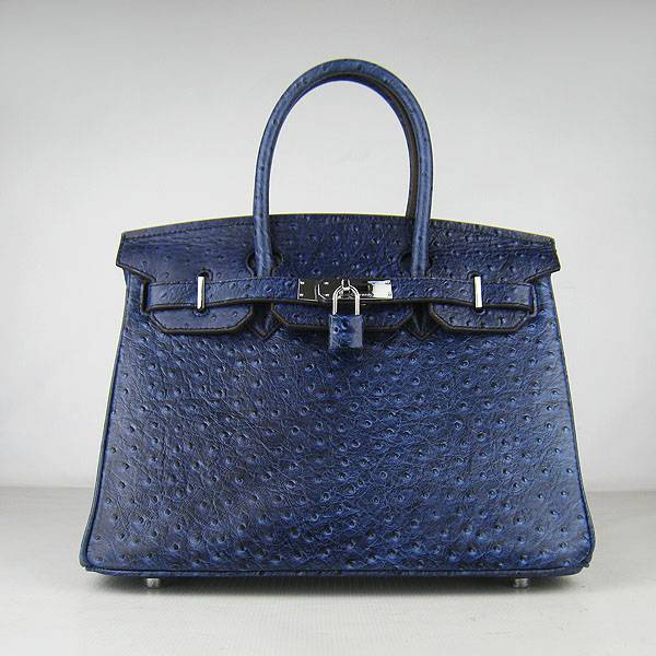 Hermes Birkin 30cm 6088 Dark Blue Ostrich Leather With Silver Hardware