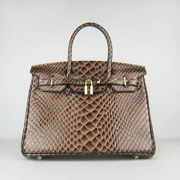 Hermes Birkin 30cm 6088 Dark Coffee Fish Leather With Gold Hardware