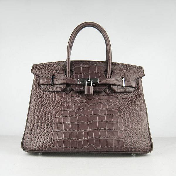 Hermes Birkin 30cm 6088 Dark Coffee Alligator Leather With Silver Hardware