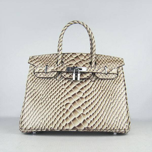 Hermes Birkin 30cm 6088 Gray Fish Leather With Silver Hardware